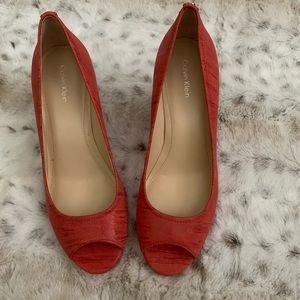 Calvin Klein peep toe heels size 8.5